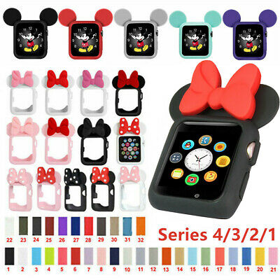 $ CDN6.68 • Buy For Apple Watch Series 4 3 2 1 Minnie Mickey Mouse Case Silicon Wrist Band Strap