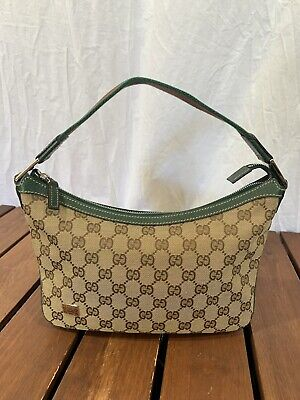 1eb55fedd GUCCI Brown Canvas And Green Leather Trim Small Hobo Bag Made In Italy •  295.00$