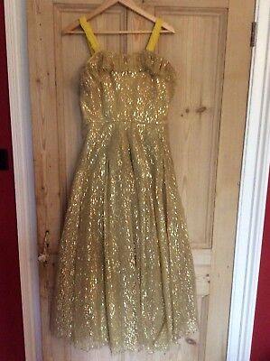 £49.99 • Buy Original 1950s Gold Lace Evening Ball Gown Size 10-12
