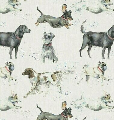 Dashing Dogs 100% Cotton Fabric Voyage Curtains Cushions Crafts • 11.99£