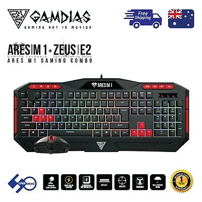 AU39.95 • Buy PC Gaming Keyboard+Mouse Computer Combo Multi-Colour Backlight Gamdias Ares M1