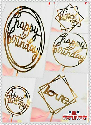 UK New Love Happy Birthday Cake Topper Card Acrylic Party Decor Supplies Gold • 1.59£