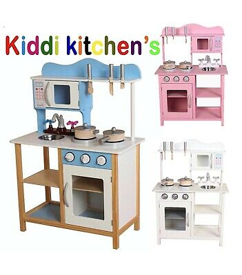 Kids Wooden Kitchen With Free Pans And Utensils Play Kitchen In 3 Colours • 54.95£