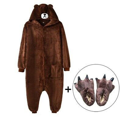 Kigurumi Bear Onesie Slippers Women Men Adult Animal Cartoon Brown Pajama Funny  • 27.57£