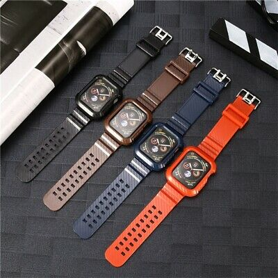 $ CDN14.91 • Buy For Apple Watch Series 4 Band 44mm Carbon Fiber Rugged Strap Protect Case Cover