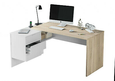 Mensa Oak And White Corner Computer Desk With Drawers Home Office Furniture 2897 • 189£
