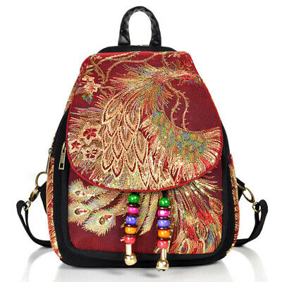 Women Embroidery Backpack Vintage Style Lady Rucksack Large Capacity Book Bag • 10.68£