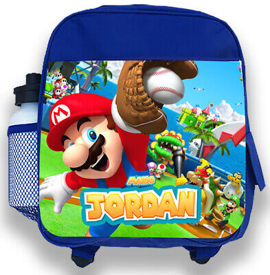 Personalised Kids Backpack Any Name Mario Boys Childrens Back To School Bag 4 • 14.95£
