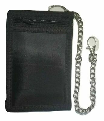 £3.99 • Buy Black Wallet ID Card/Credit Card Holder Trifold Wallet With Security Chain