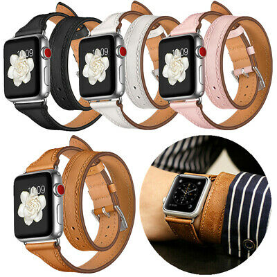 AU28.90 • Buy 1:1 Double Tour Bracelet Leather Wrist Band Strap For Apple Watch Series 4 3 2 1