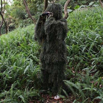 Adult 3D Military Woodland Camouflage Ghillie Suit Hunting Free Size 5 Pcs UK • 24.25£