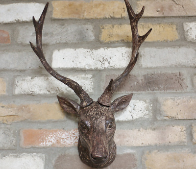 Wall Mounted Stag Head Wall Plaque Decoration Deer Antler Animal Sculpture 47cm • 32.95£