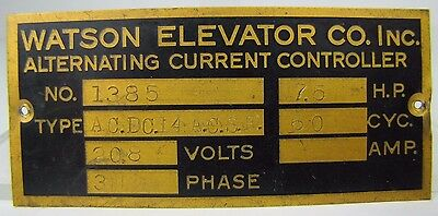 $99 • Buy Old WATSON ELEVATOR Co Plaque Nameplate Sign Building Architectural Hardware