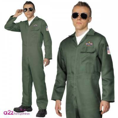Mens Aviator Costume Army Fighter Pilot Air Ace Flying Forces Adult Fancy Dress • 19.95£