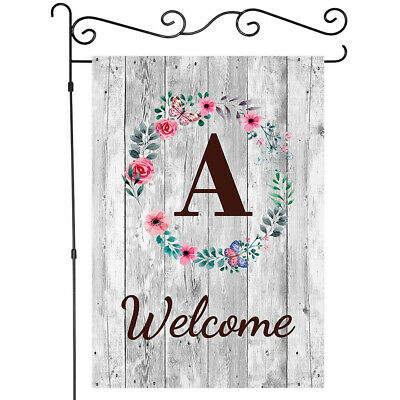 $ CDN9.29 • Buy A-Z Letter Garden Flags Wooden Board With Flower Yard Flags Welcome Banner