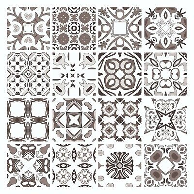 £15.99 • Buy Mosaic Tile Stickers GREY Azulejo Talivera For 150mm X 150mm / 6 Inch Tiles G15