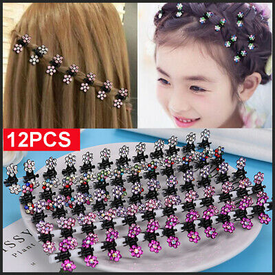 $2.59 • Buy 12Pcs Rhinestone Flower Mini Hair Clips Hairpins Hair Accessories For Kids Girls
