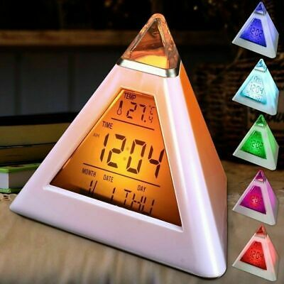AU12.99 • Buy Colorful LCD Alarm Clock Night Lights Thermometer Digital Wall Clock LED Of Lamp