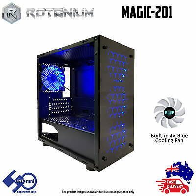 AU42 • Buy PC Computer Case Gaming Micro Tower With 4x120mm Blue LED Fan ROTANIUM Magic-201