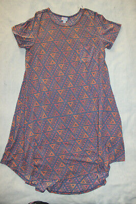 Lularoe Carly Pink Purple High Low Dress Triangles Geometric Pattern Size XL • 17.19£
