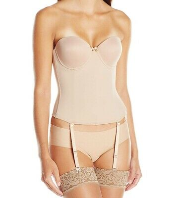 Va Bien Womens Beige USA 38D Hook & Eye Ultra-Lift Low Back Bustier $79- 024 • 13.99£