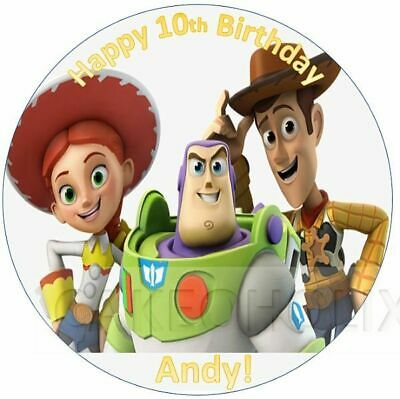 Toy Story Woody Buzz Lightyear Edible Cake Topper With Any Personalised Message  • 4.95£
