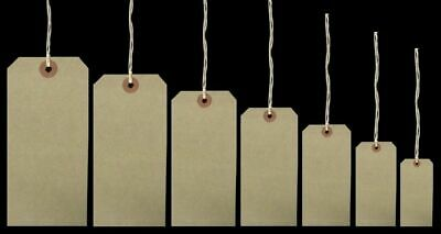 £2.95 • Buy Brown Buff Manila Strung Tie On Tags Labels Retail Luggage Tags With String