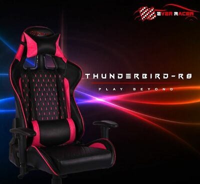 AU299.99 • Buy Everracer Pink Gaming Deluxe Chair With PU Leather & Lumbar Support