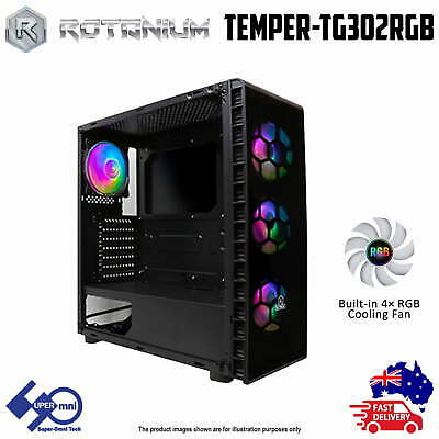 AU61 • Buy PC Gaming Case ATX Tower Tempered Glass Side Panel With 4x ARGB Fan + Controller