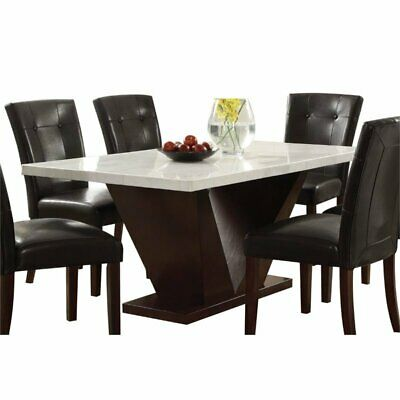 $564.33 • Buy ACME Forbes Marble Top Dining Table In White And Walnut