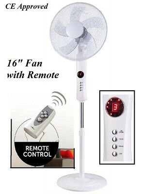 £32.99 • Buy 16  White Free Stand Fan With Remote Control High Velocity Pedestal Cooling Fan