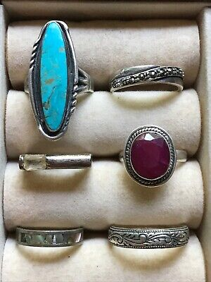 $ CDN160.82 • Buy Estate Lot Of 6 Sterling Semiprecious Rings Marked