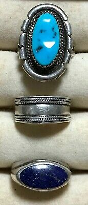$ CDN160.82 • Buy Estate Lot Of 3 Sterling Semiprecious Rings Lapis Turquoise Marked