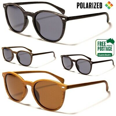 AU9.95 • Buy Polarised Sunglasses - Mens / Womens - Round Frame - Wood Grain Print- Polarized