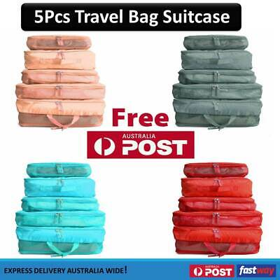AU9.49 • Buy 5pcs Packing Cube Pouch Suitcase Clothes Storage Bags Travel Luggage Organizer