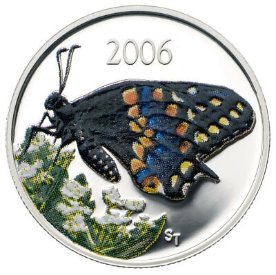 Canada 2006 50 Cent Short-tailed Swallowtail Butterfly Sterling Silver Coin COA  • 30.31$
