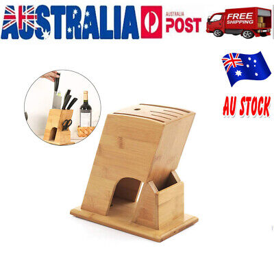 AU19.35 • Buy Wooden Bamboo Knife Utensil Holder Block Storage Rack Kitchen Organizer Tools