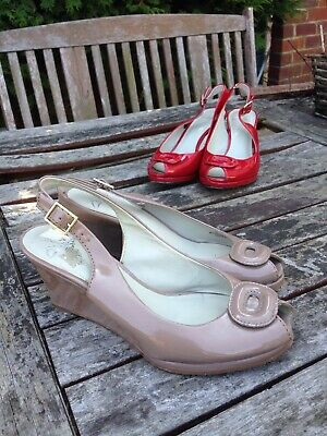 Clarks Camel Mink Coffee Brown Wedge Patent Sandals Shoes Holiday Wedding 6  • 21£