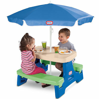 $75.25 • Buy  Outdoor Junior Picnic Table Garden Kids Play Seats 4 Furniture With Umbrella