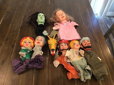 $44.99 • Buy VINTAGE Rubber Face Hand Puppets Lot EUC Wizard Of Oz Red Riding Hood Mr Rogers