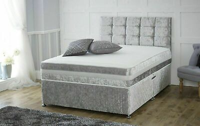 £214.95 • Buy New Crushed Velvet Divan Bed With Matching Mattress And Free 20  Headboard
