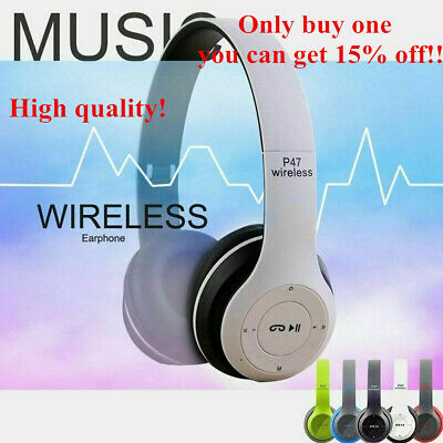 $ CDN15.35 • Buy Wireless Bluetooth Headphones Foldable Stereo Super Bass Headset Mic Headset