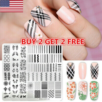 $7.99 • Buy NICOLE DIARY Nail Stamping Plates Flower Geometric Overprint Nail Art Stamp Tips