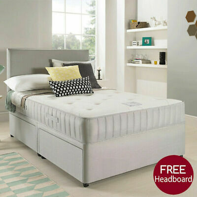 £224.95 • Buy SUEDE DIVAN BED SET WITH MEMORY MATTRESS AND HEADBOARD 3FT 4FT 4FT6 Double 5FT
