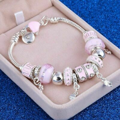 Pink Charm Braclets For Women Silver Plated Bracelets & Bangles Bracelet Uk • 4.37£