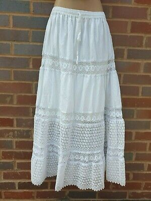White Cotton Maxi Skirt Summer Lace Boho Festival Lined One Size 12 14 16 18 20 • 15.99£