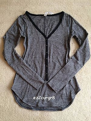 $ CDN119.99 • Buy Lululemon Awesome Awesoma Henley Long Sleeve Top Heathered Black 6 Or 10