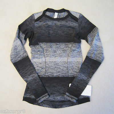 $ CDN159.99 • Buy Lululemon Base Runner Long Sleeve Pullover Universal Stripe Bold Black Static 6
