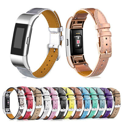 AU14.79 • Buy Genuine Leather Replacement Watchband Bracelet Strap Band For Fitbit Charge 2