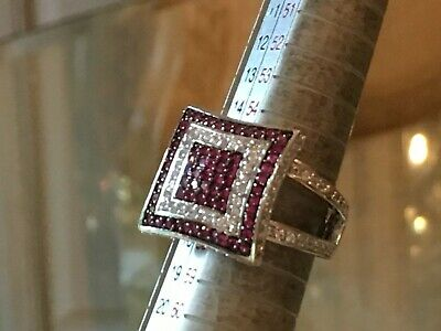 $135 • Buy Charles Winston Sterling Silver Raspberry & White Cubic Zirconia Art Deco Ring
